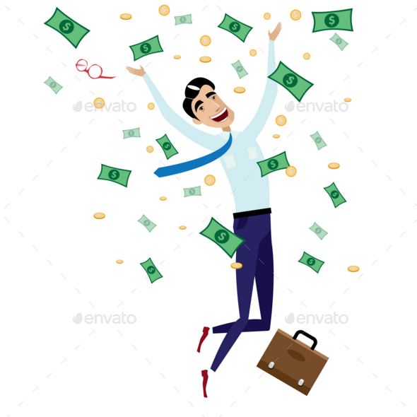 GraphicRiver Happy Businessman Jumping with Money 20764681