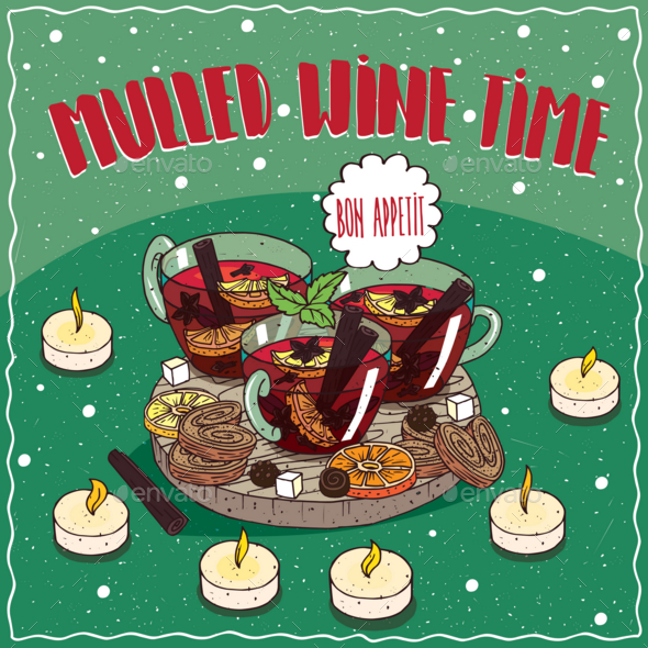 Mulled Wine in Mugs with Sweets and Cookies - Food Objects