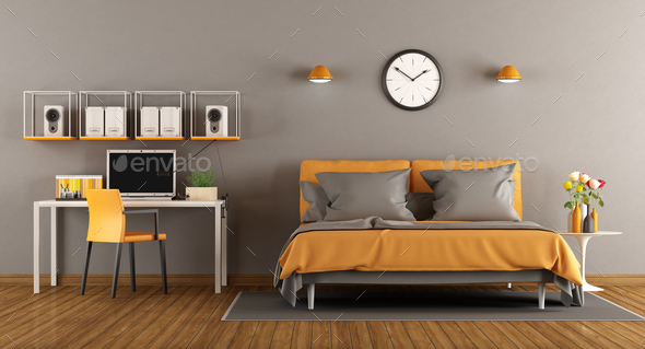 Modern bedroom with bed and desk - 3d rendering - Stock Photo - Images