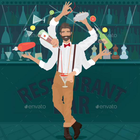 GraphicRiver Multi-armed Bartender Hipster Prepares Cocktail 20764763