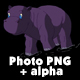 Little Violet Hippo Emerges from the Water - VideoHive Item for Sale