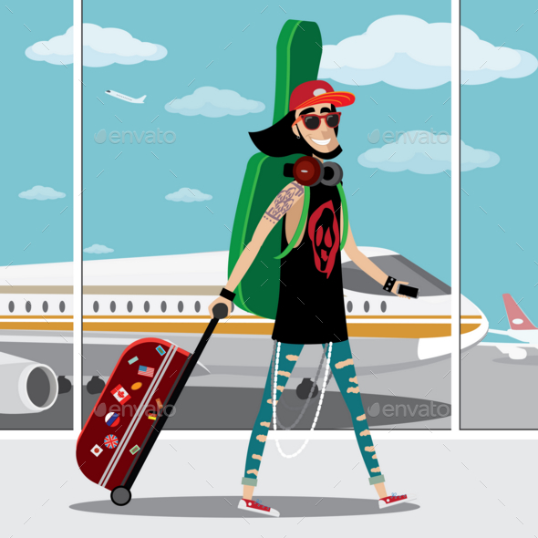 GraphicRiver Rock Musician at the Airport 20764797