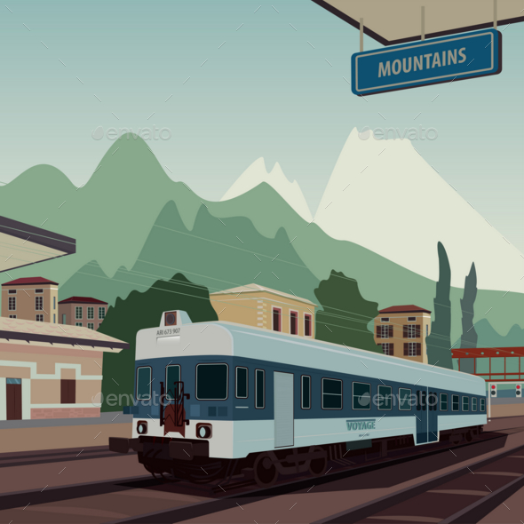 GraphicRiver Old Train at Railway Station of European Town 20764898
