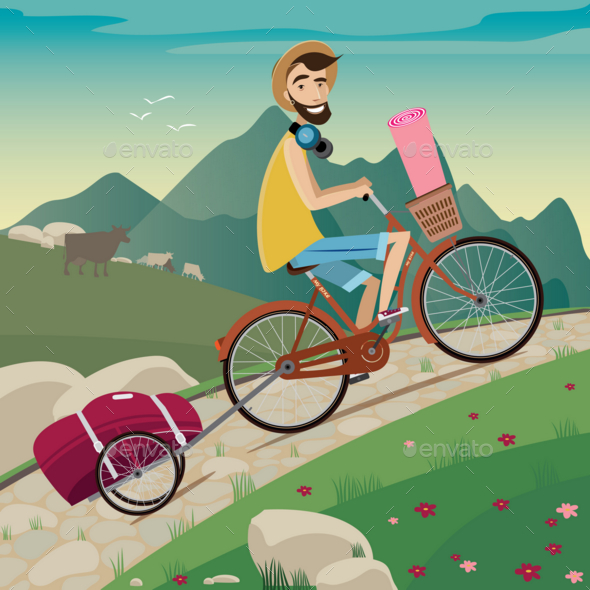 GraphicRiver Backpacker in the Cycling Tour in the Mountains 20764934