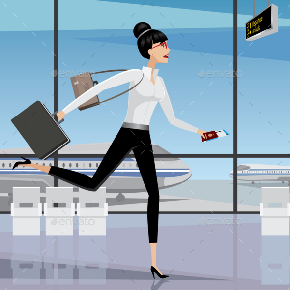 GraphicRiver Business Woman Late for the Plane 20764941