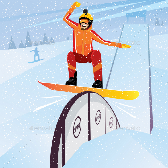 GraphicRiver Extreme Athlete Moves Down on a Snowboard 20764968
