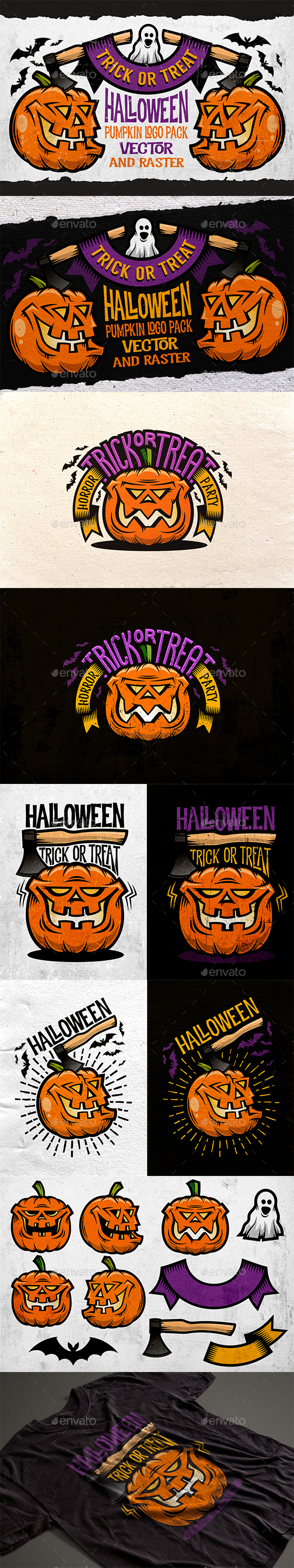Halloween Pumking Logo Set - Halloween Seasons/Holidays
