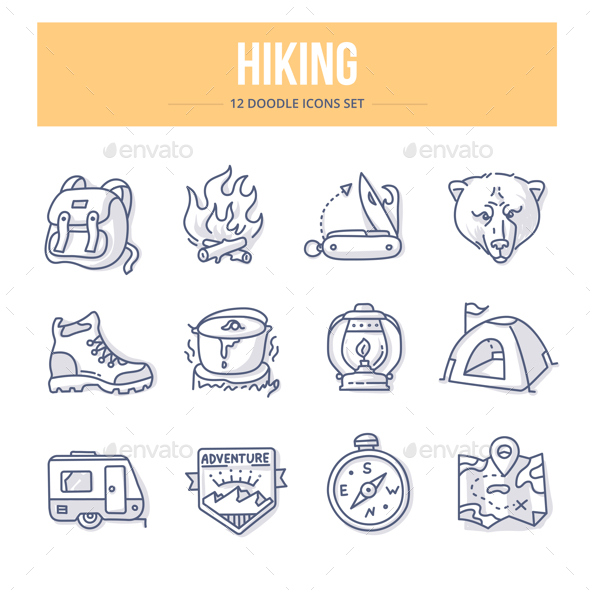 Hiking Doodle Icons - Miscellaneous Icons