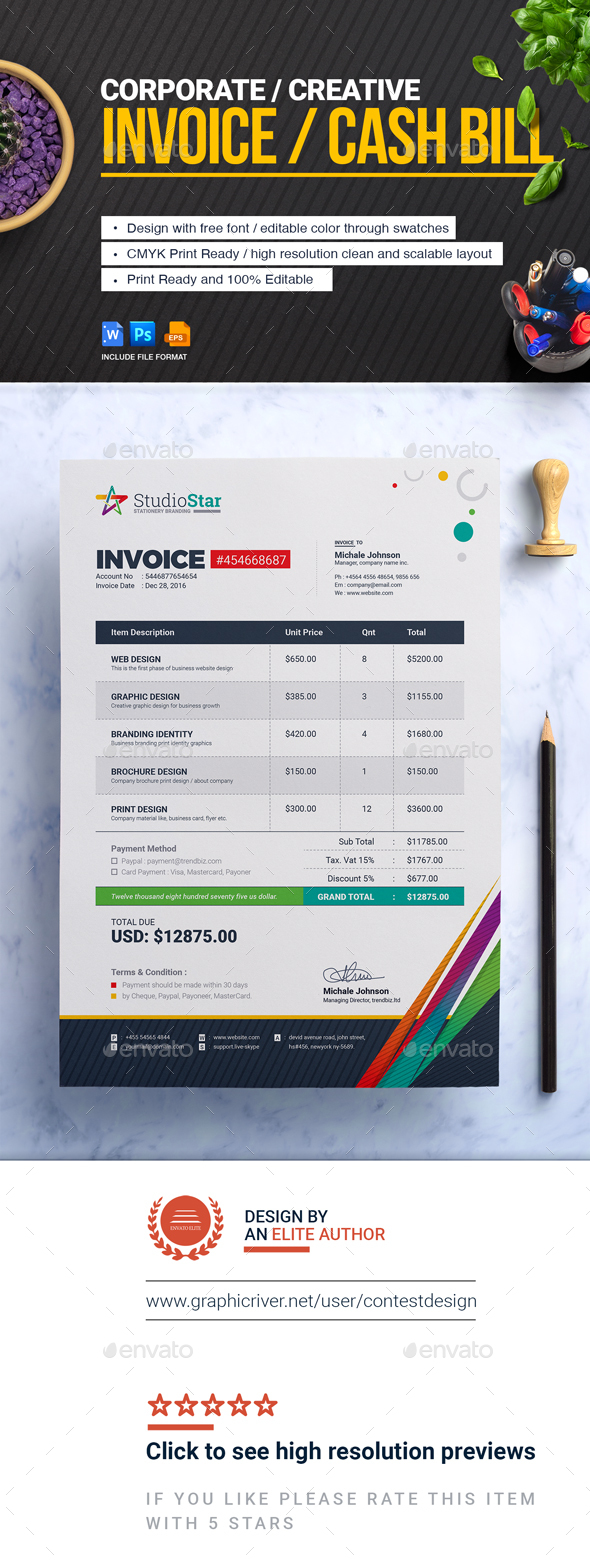 GraphicRiver Invoice Bill Cash Memo Template 20766165