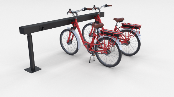 Electric City Bicycle and Station Red - 3DOcean Item for Sale