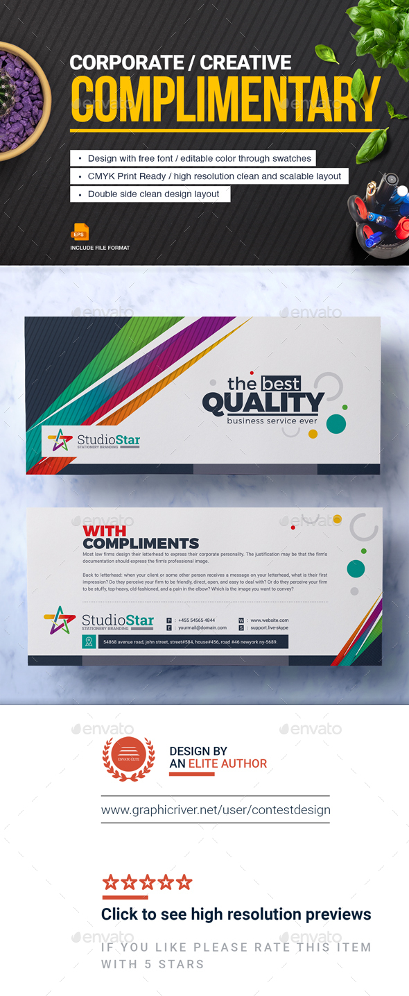 GraphicRiver Complimentary Compliment Slip Template Compliment Card Design Template 20766250