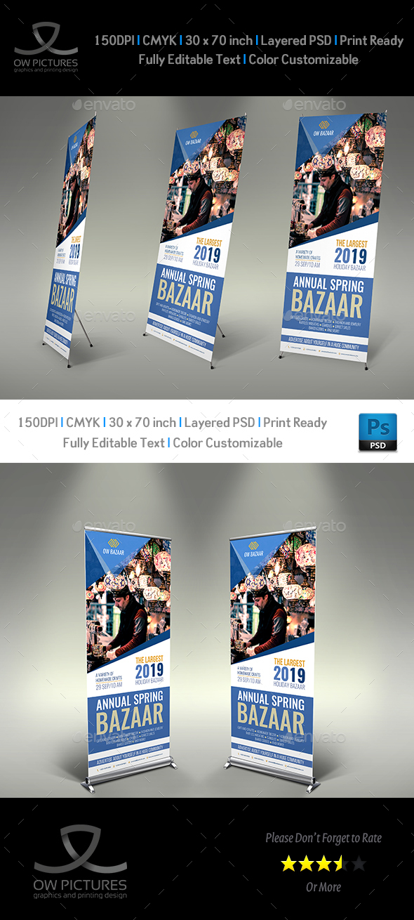 Bazaar Signage Roll Up Banner Template - Signage Print Templates