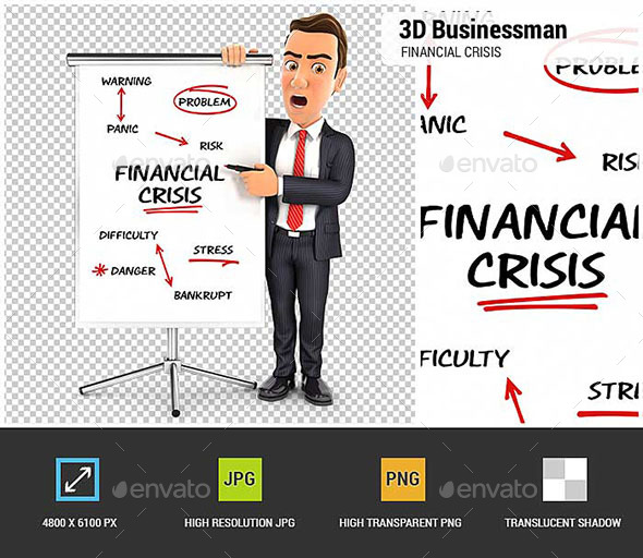GraphicRiver 3D Businessman Writing Financial Crisis on Paperboard 20766472