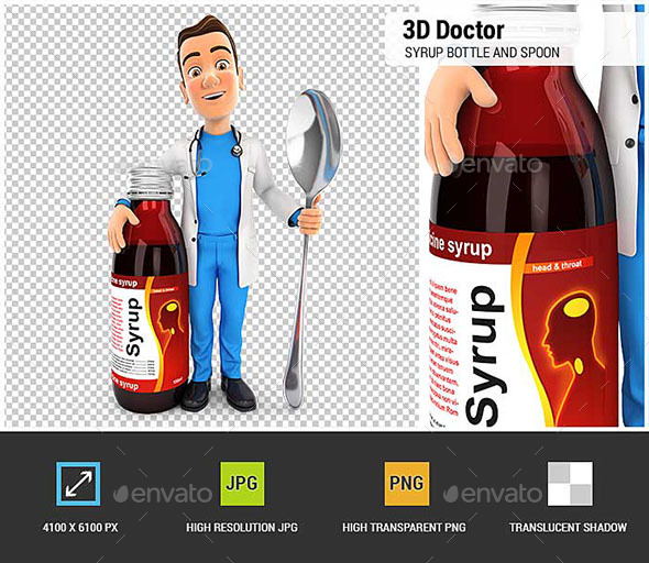 3D Doctor Standing Next to Syrup Bottle - Characters 3D Renders