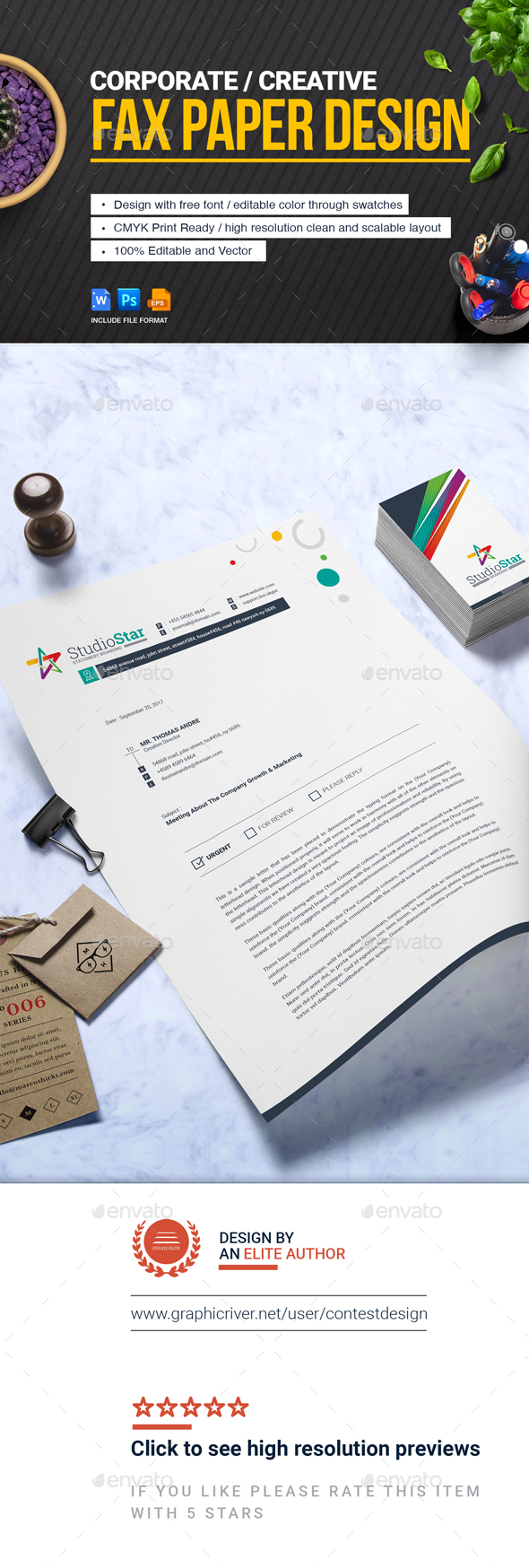 GraphicRiver Fax Paper Cover Sheet Letterhead Design Template 20766505
