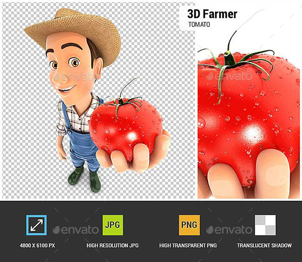 GraphicRiver 3D Farmer Holding a Fresh Tomato 20766513