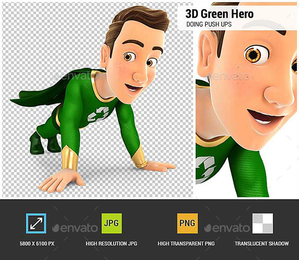 3D Green Hero Doing Push-Ups - Characters 3D Renders