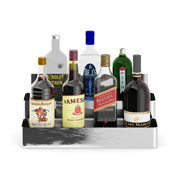 Metal Shelf with Bottles - 3DOcean Item for Sale