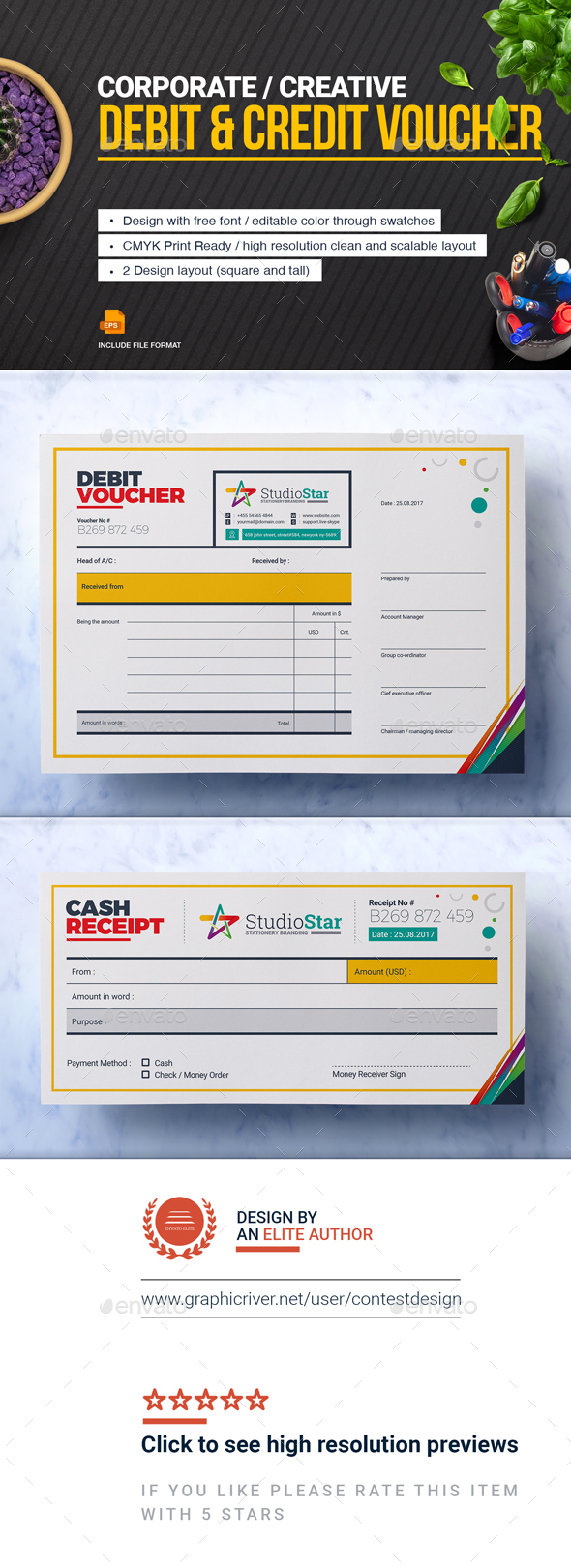 Debit and Credit Voucher Design Template - Stationery Print Templates