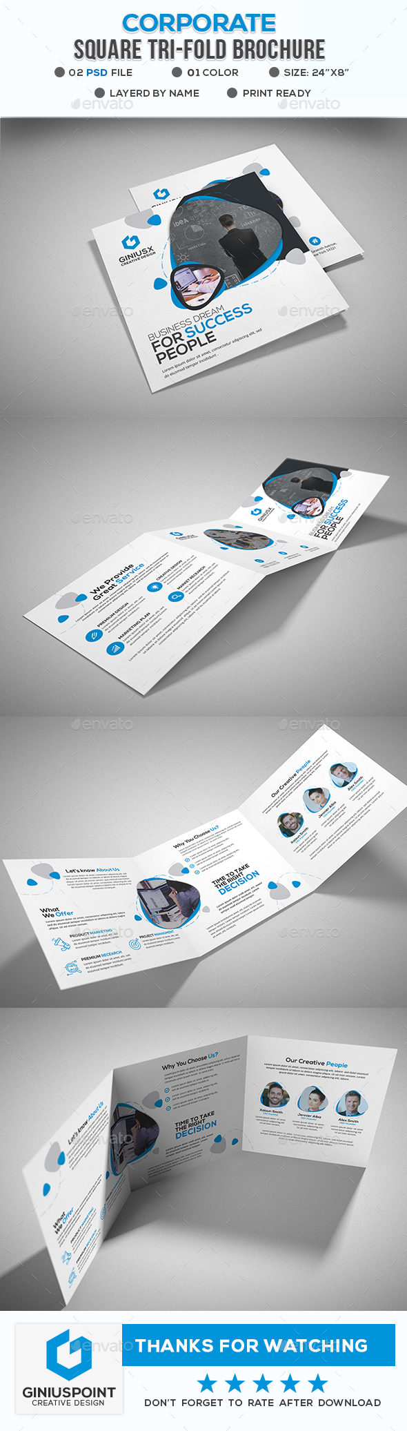 Corporate Square Tri-Fold Brochure - Brochures Print Templates