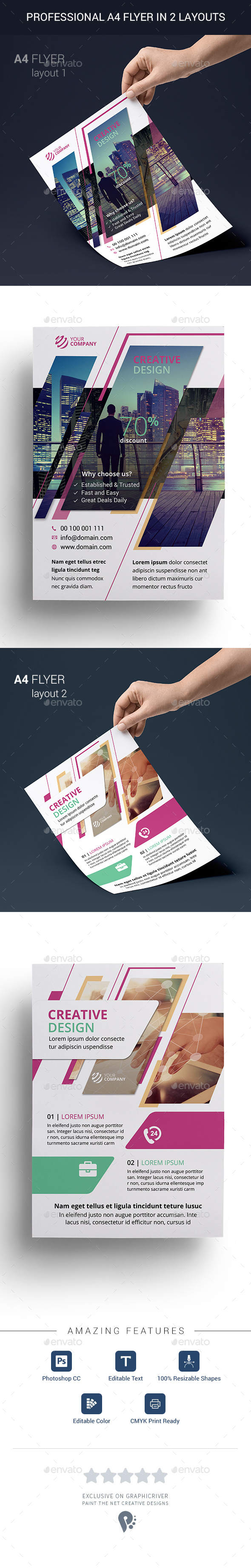 Professional Multi-purpose A4 Flyer in 2 Layouts - Corporate Flyers
