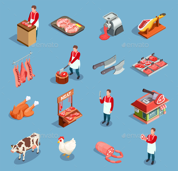 Meat Market Icon Set - Food Objects