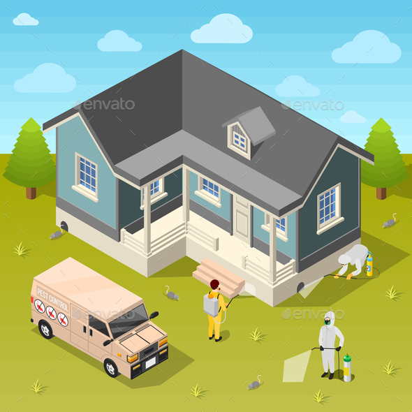 GraphicRiver House Disinfection Isometric Background 20766891