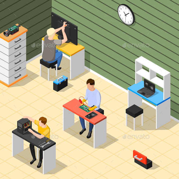 Staff In Service Center Isometric Composition - Services Commercial / Shopping