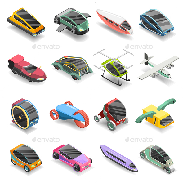GraphicRiver Future Transport Isometric Icons Set 20766887