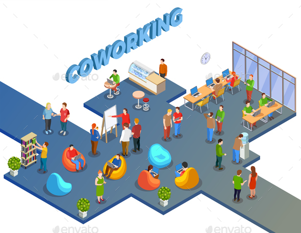 GraphicRiver Open Space Coworking Composition 20766888
