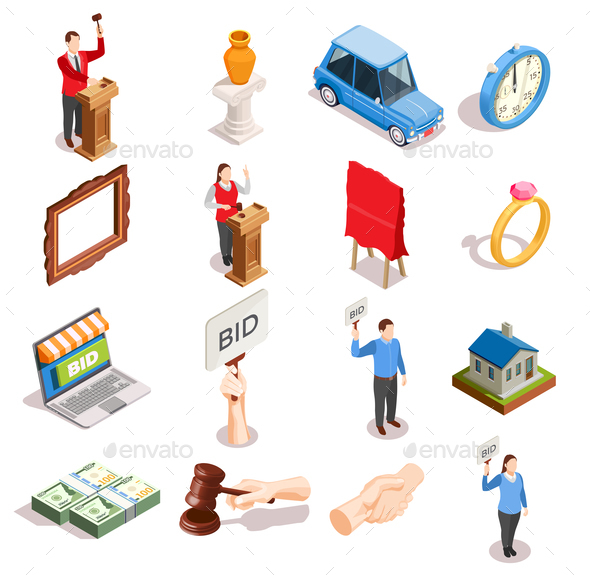 Auction Item Icons Collection - Industries Business