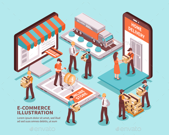 Electronic Commerce Isometric Design Concept - Industries Business
