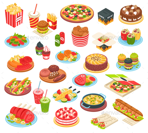 Fast Food Isometric Set - Food Objects
