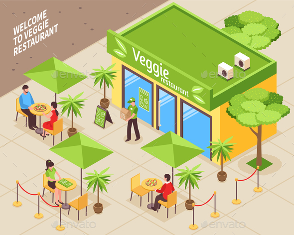 Vegetarian Cafe Outdoor Isometric Illustration - Food Objects