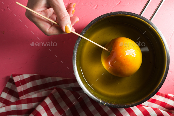 Soy with sugar syrup, apple on stick top view - Stock Photo - Images