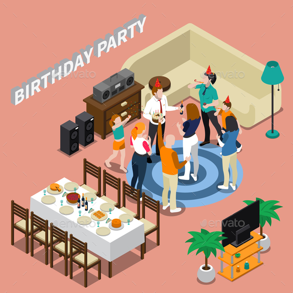 Birthday Party Isometric Composition - Birthdays Seasons/Holidays