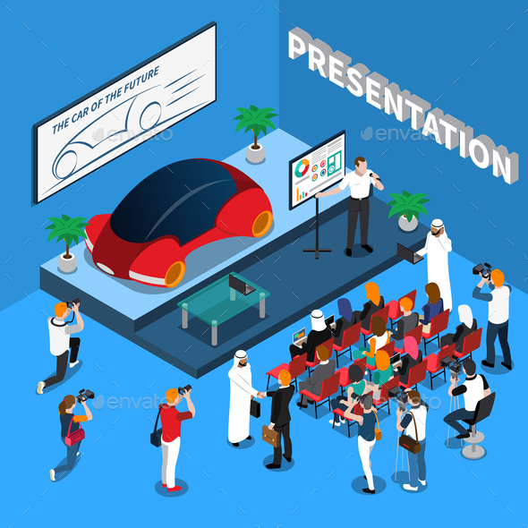 Car Presentation Isometric Composition