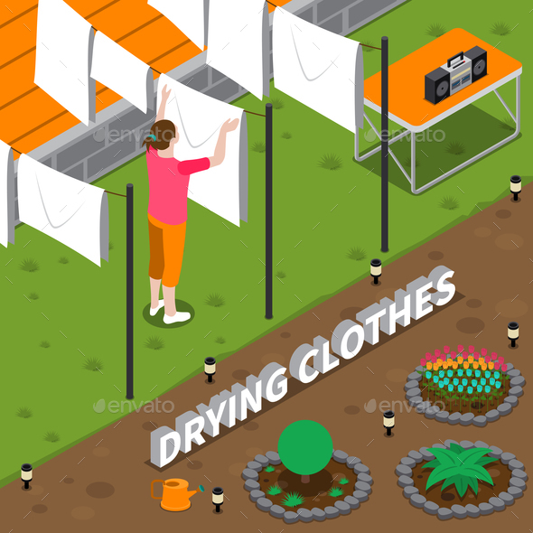 GraphicRiver Drying Clothes Isometric Composition 20766983