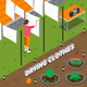 Drying Clothes Isometric Composition