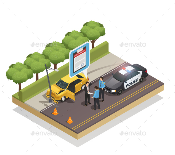 Insurance Isometric Composition - Miscellaneous Vectors