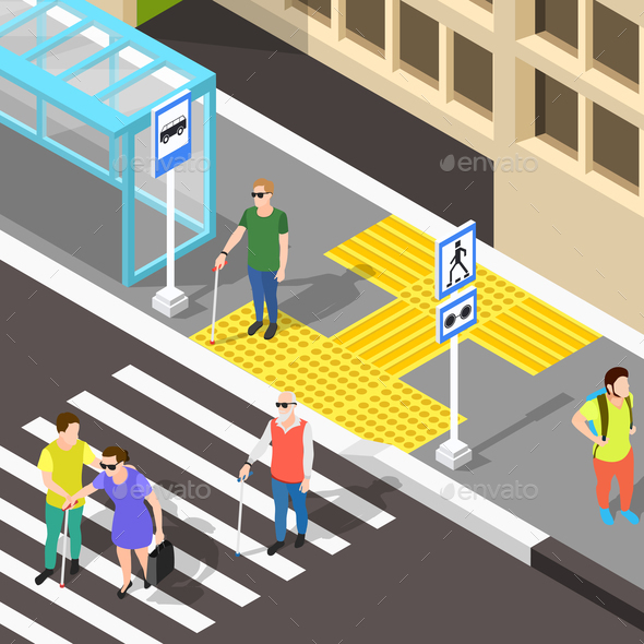 Blind Crosswalk Paving Background - Health/Medicine Conceptual
