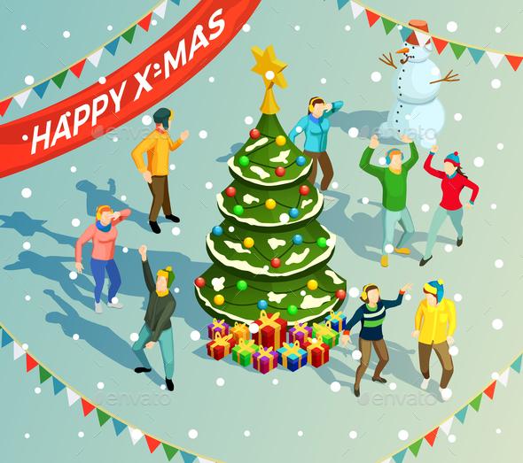 Dancing Isometric Illustration - Seasons/Holidays Conceptual