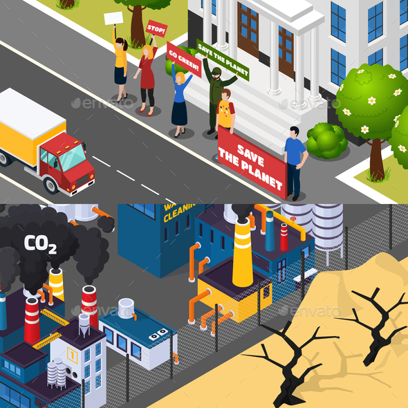 Global Warming Isometric Banners - Buildings Objects