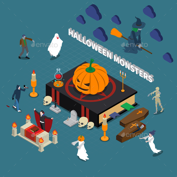 Monster Halloween Isometric Composition - Seasons/Holidays Conceptual