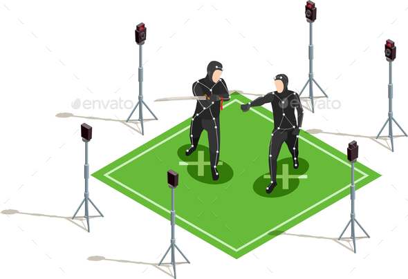 Isometric Cinematograph Composition - Industries Business
