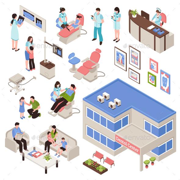 Stomatology Isometric Set - Health/Medicine Conceptual