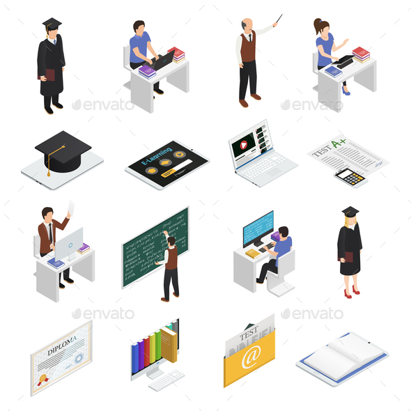 E-learning Isometric Icons Set - Miscellaneous Vectors