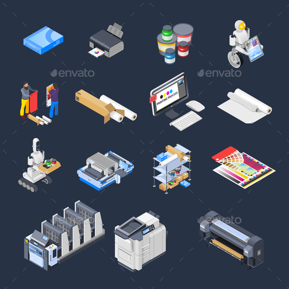 GraphicRiver Printing Isometric Icons Collection 20767026