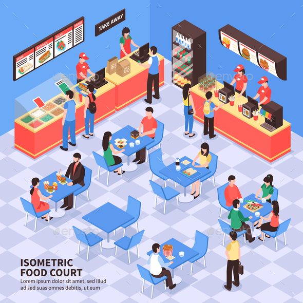 Fast Food Isometric Illustration - Miscellaneous Vectors