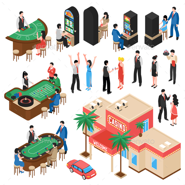 Casino Isometric Icons Set